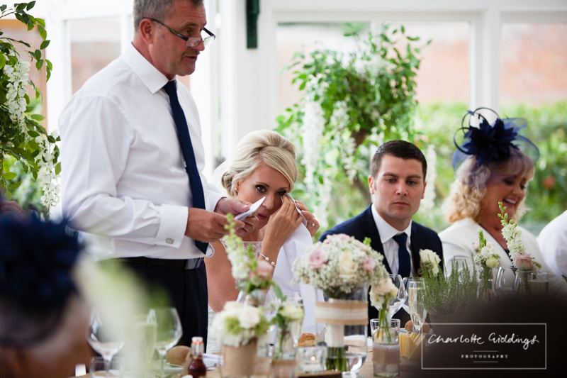 bride crying at father of the bride speech