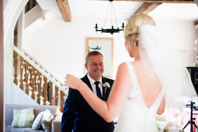 dad seeing bride/daughter for the first time