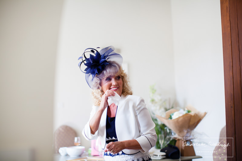emotional mum at combermere abbey wedding