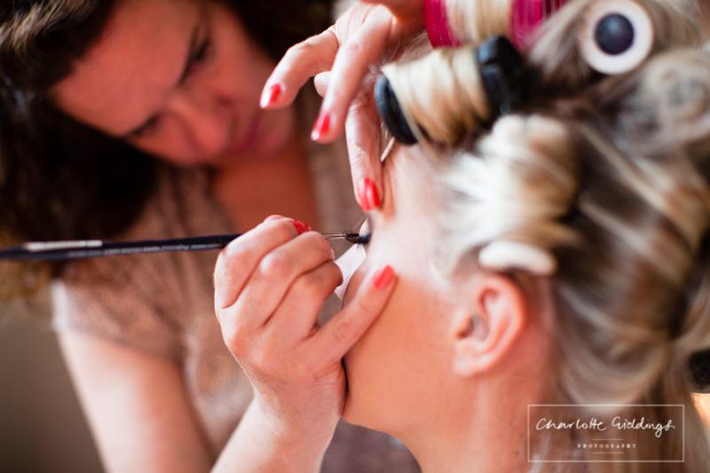 bride makeup at combermere abbey cottages