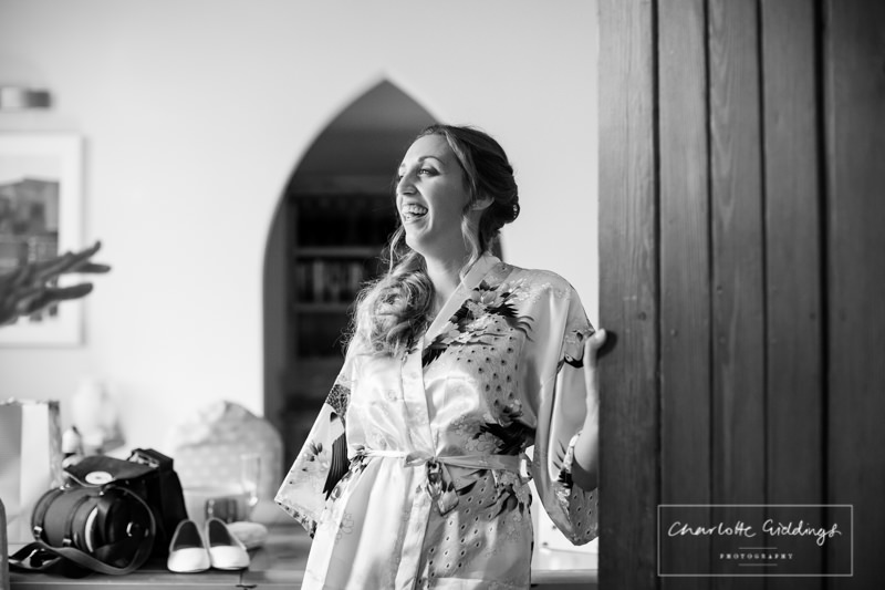 laughing bridesmaid at combemere abbey wedding