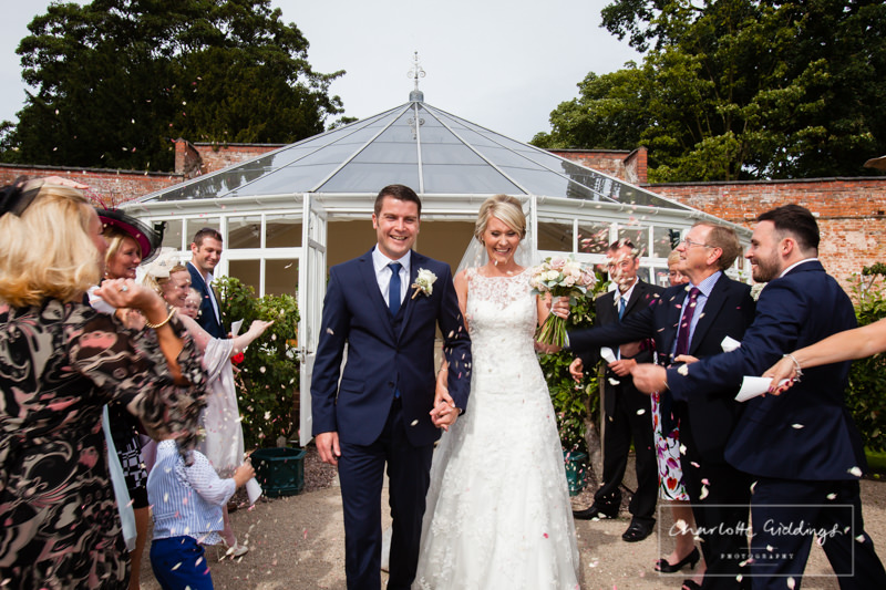 combermere abbey glasshouse house confetti shot
