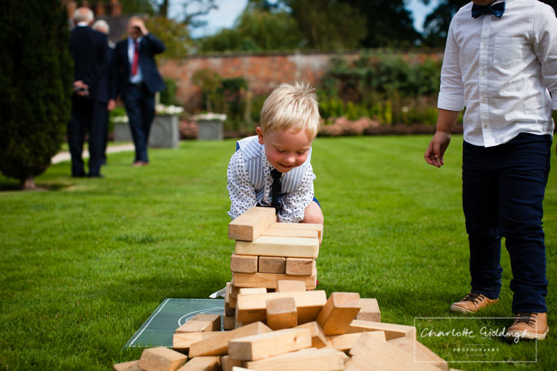 child pushed jenga down