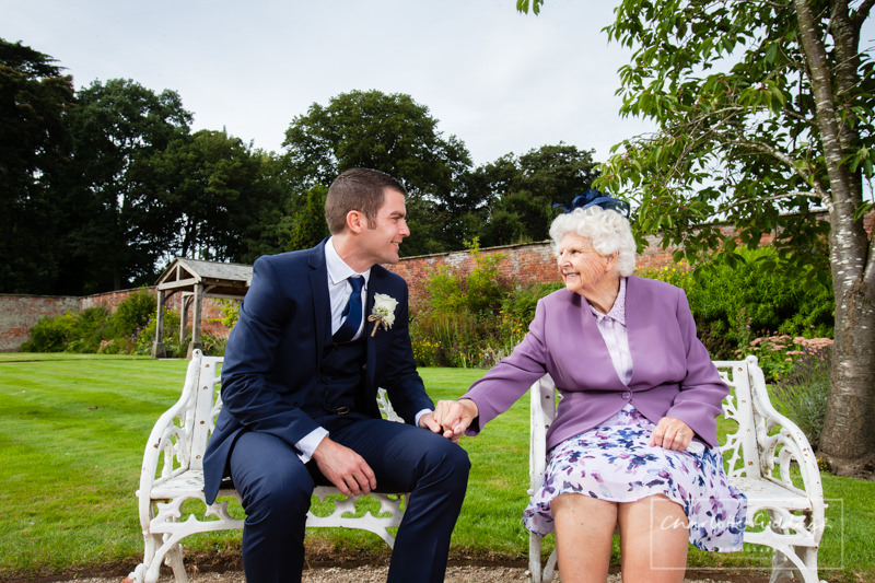 groom and his nanna at com bermere abbey