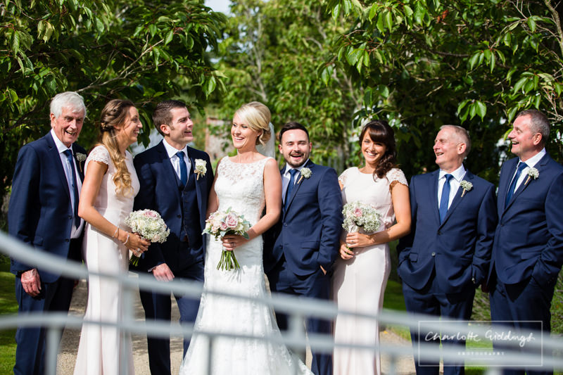 bridal party at combermere abbey