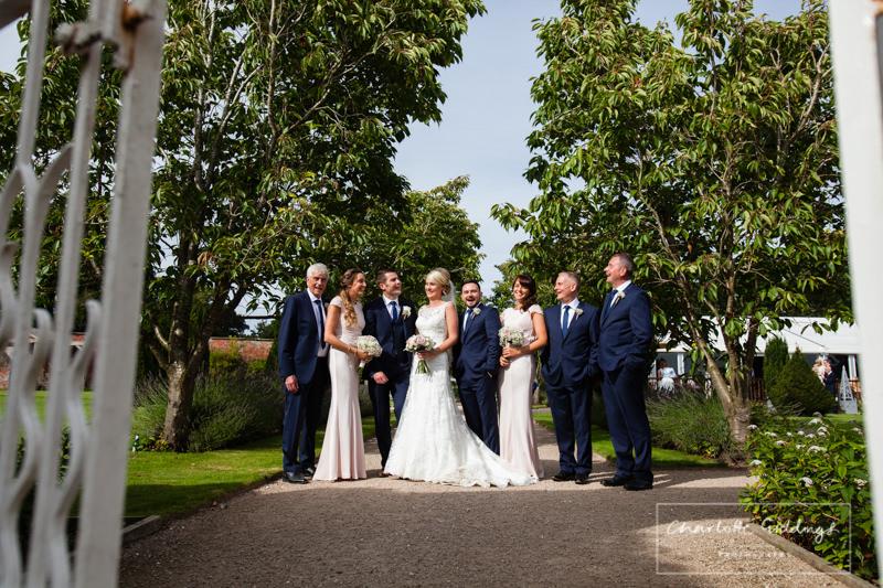 bride, groom, bridesmaids and grooms men combermere abbey