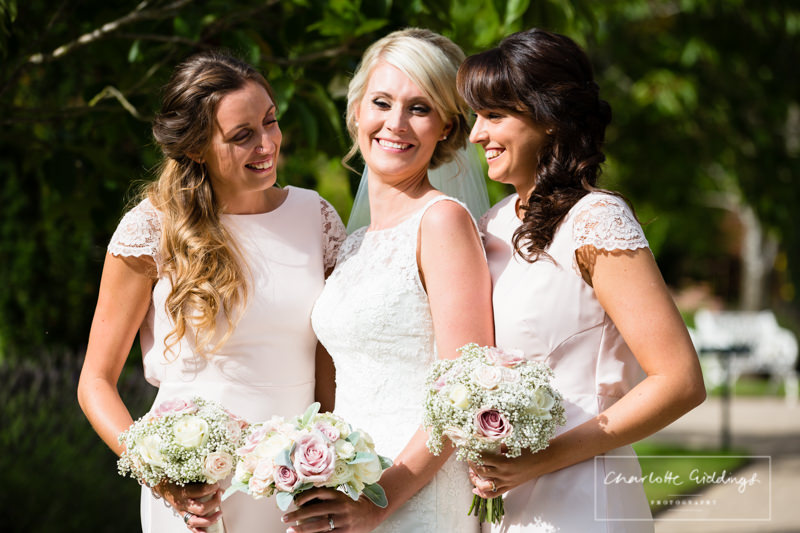 bride with the girls at combermere abbey