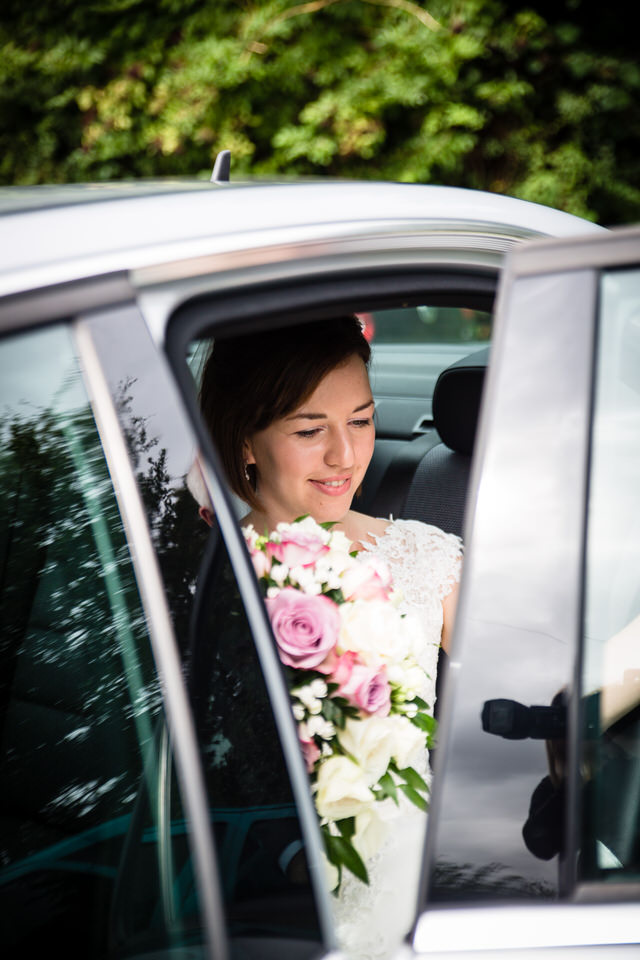 bride arriving at st. llwchaiarns church montgomery