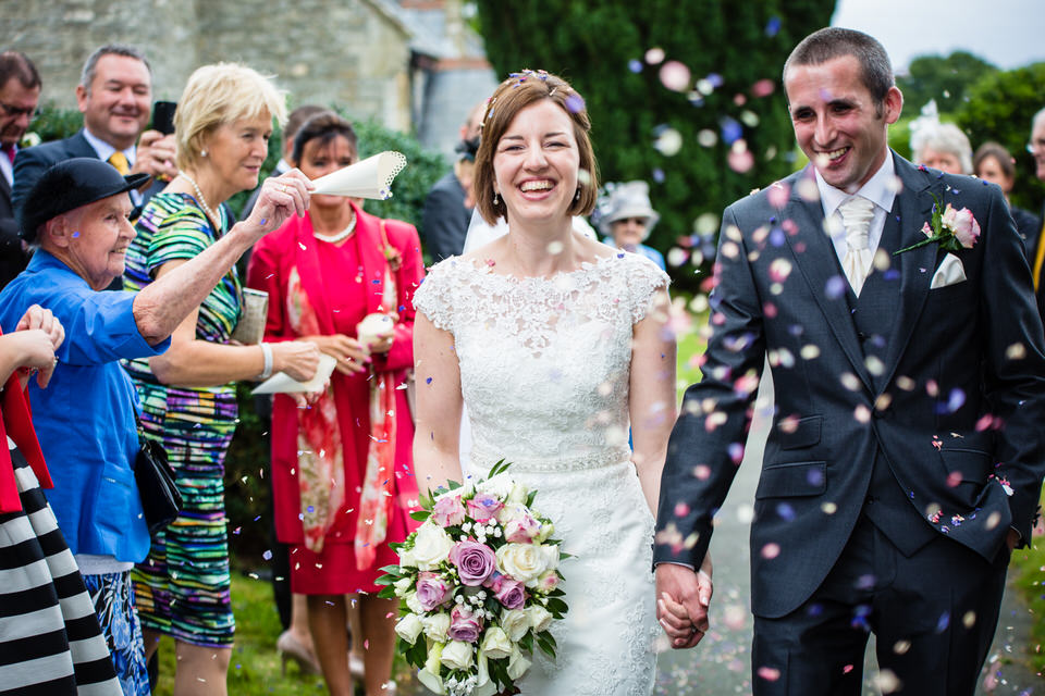 confetti at st. llwchaiarns church