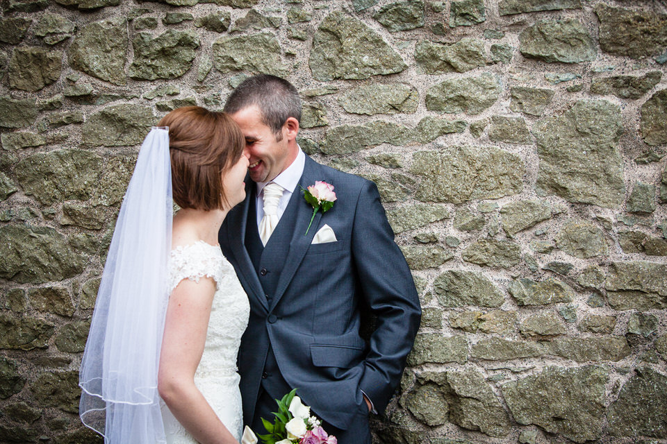 bride and groom at montgomery castle