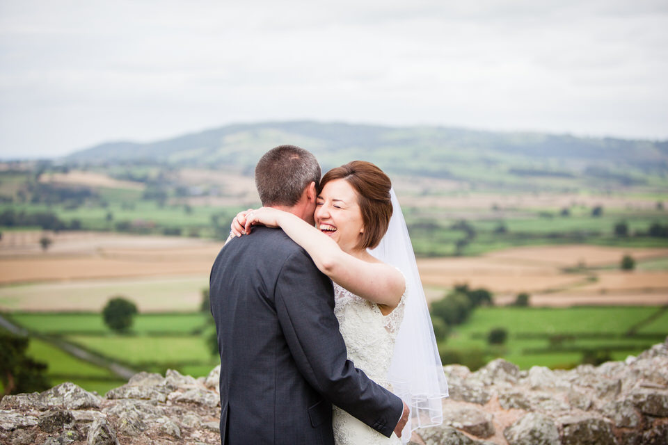 bride and groom moment with stunning views