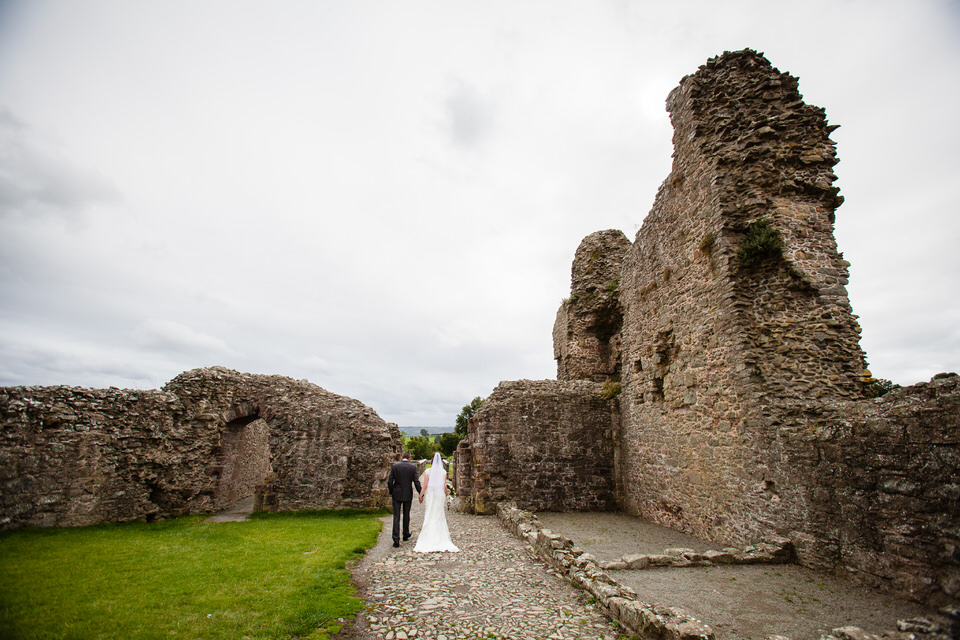 montgomery castle with bride and groom