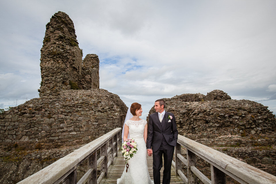 bride and groom views of montgomery castle