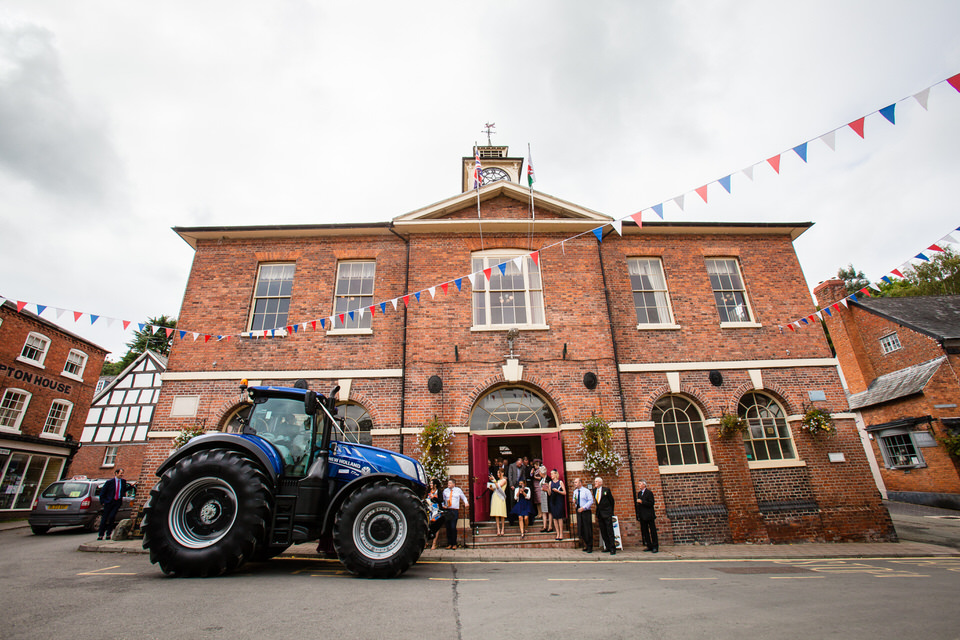 tractor outside montgomery castle