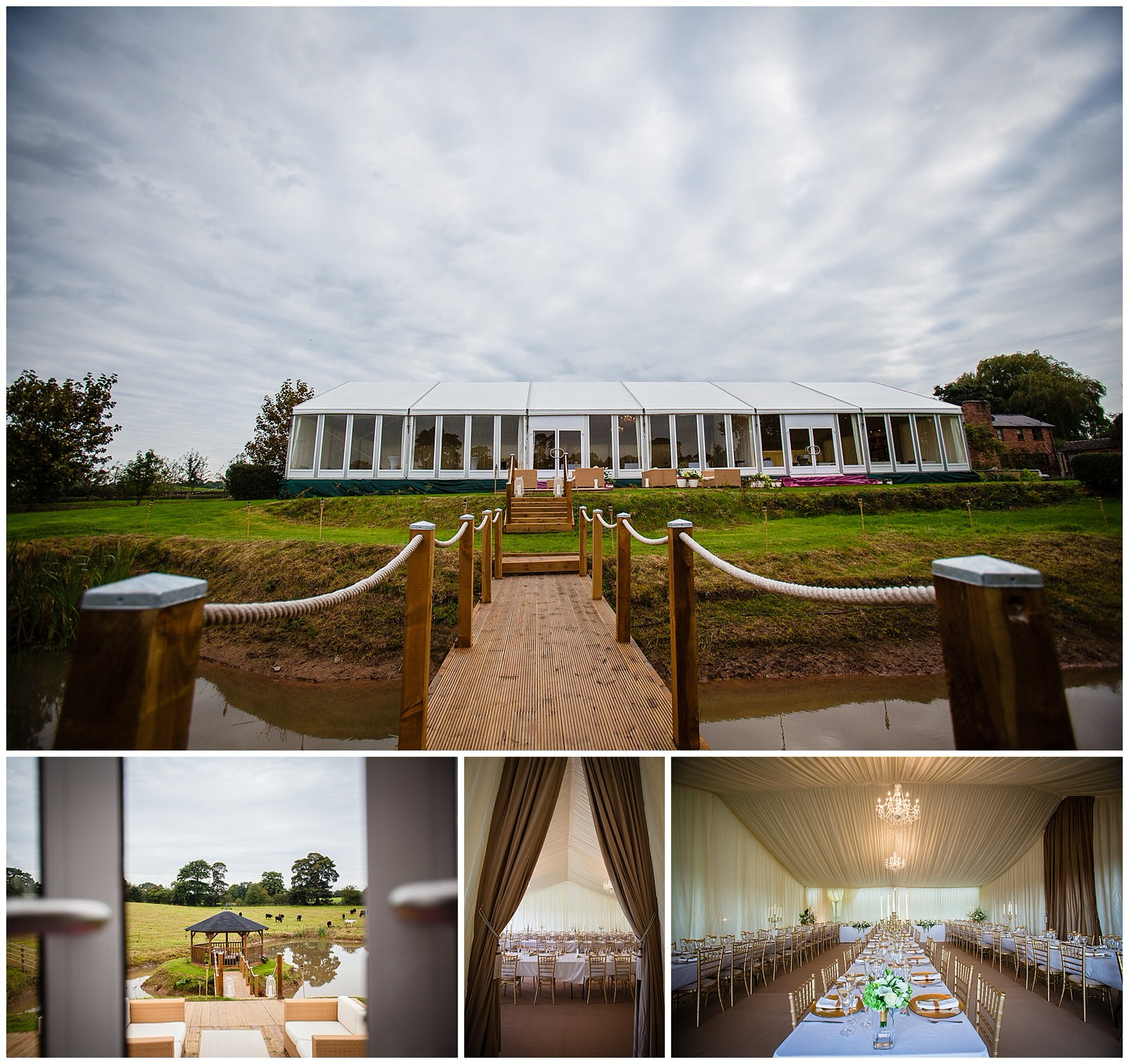 collection of photographs of a gold theme marquee wedding - shropshire wedding photographer