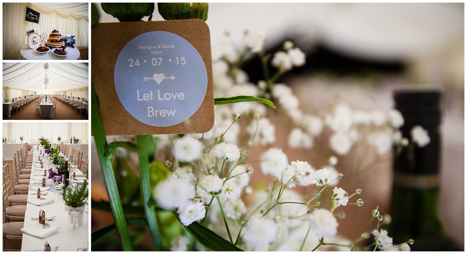 Detail shots with flowers, wedding favours and marquee layout - Charlotte Giddings Photography