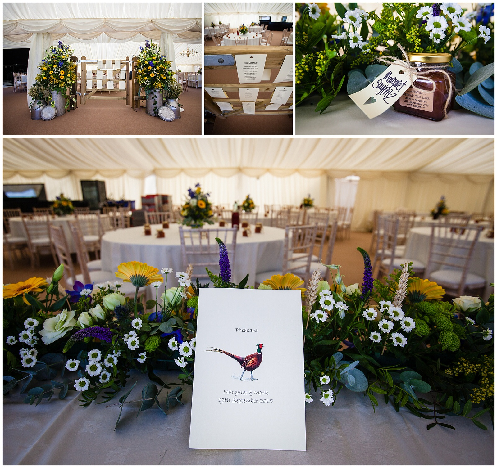 Homemade jam favours and detail shots of September marquee wedding - Charlotte Giddings Photography