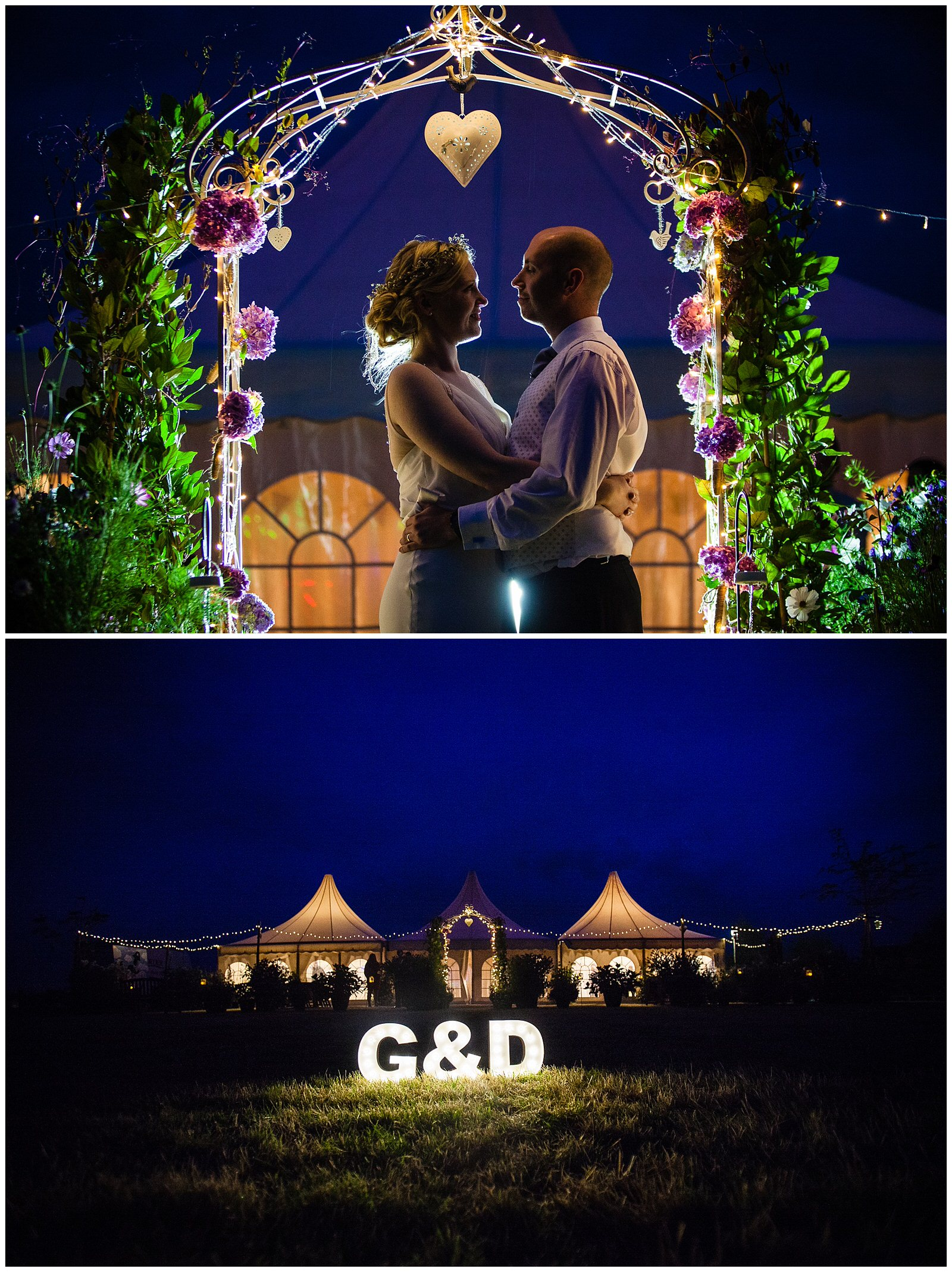 bride and groom beautifully light in the evening and an evening shot of the marquee wedding in the evening