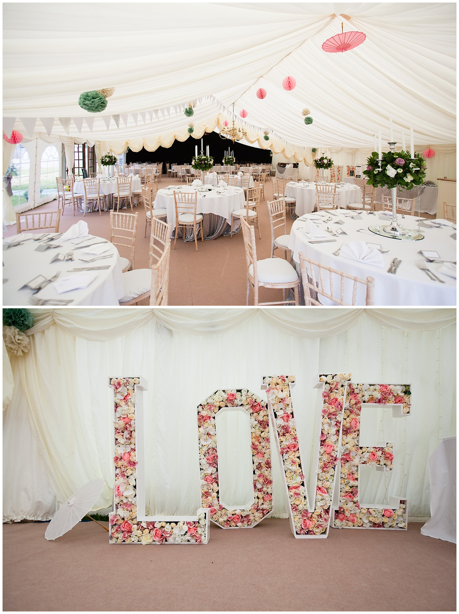 summer marquee wedding reception with pom poms on the ceiling - Charlotte Giddings Photography