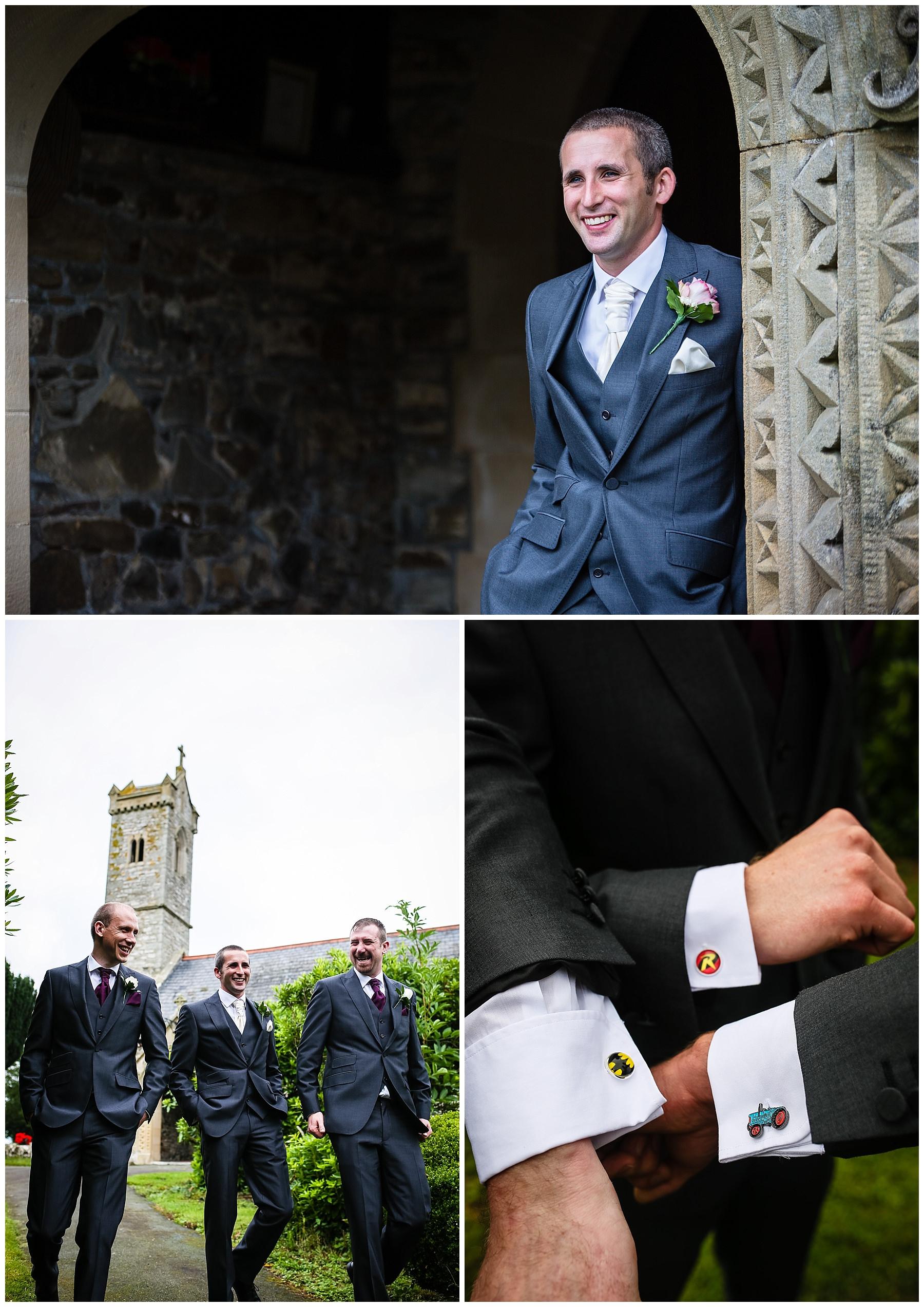 Groom and his groomsmen at St.Llwchaiarn's Church, Llanmerewig