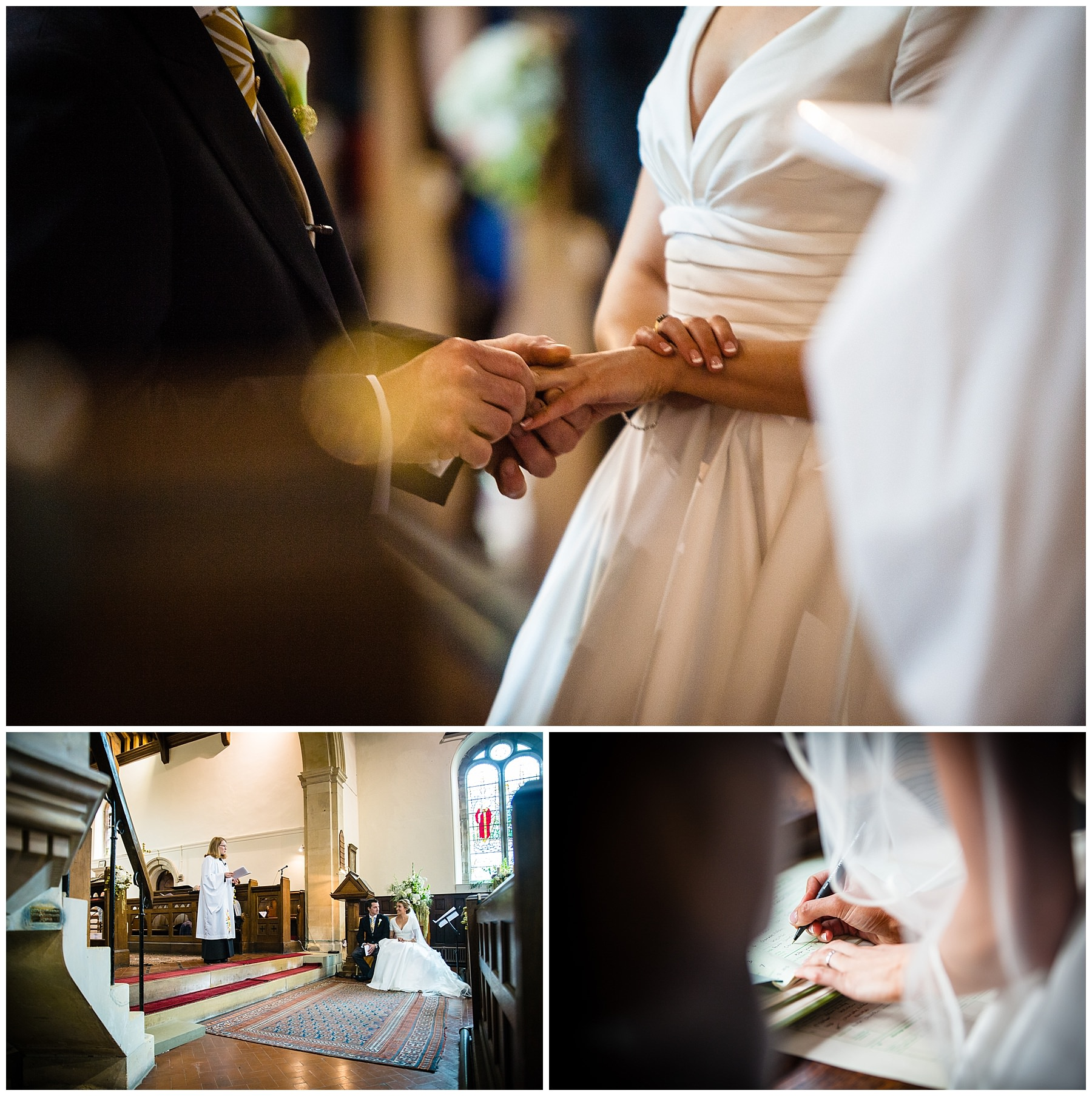 Wedding Ceremony at St. Marys and St. Michaels Church Burleydam, Whitchurch Shropshie - Charlotte Giddings Photography