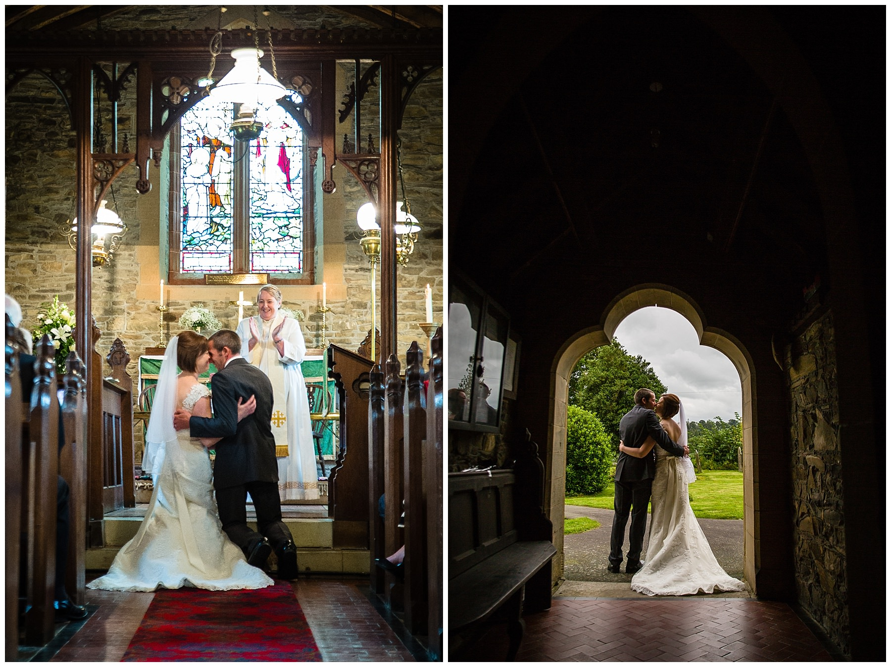 End of ceremony at St.Llwchaiarn's Church, Llanmerewig - Charlotte Giddings Photography