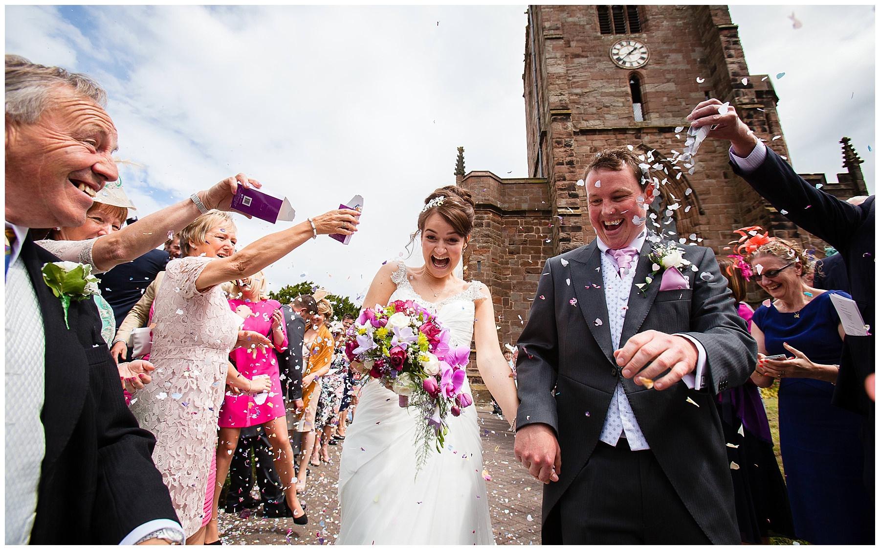 confetti at church wedding at st. boniface church, bunbury cheshire