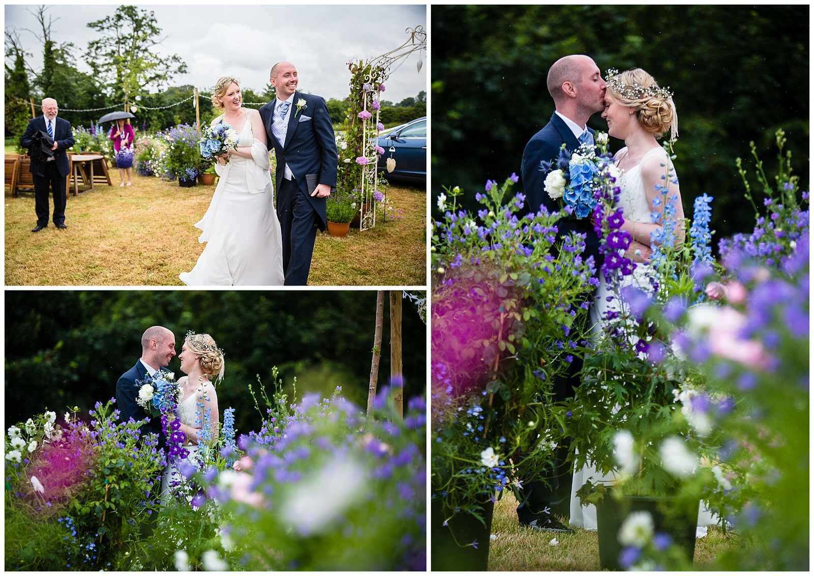 Homegrown flowers with bride and groom marquee wedding - Shropshire wedding photographer