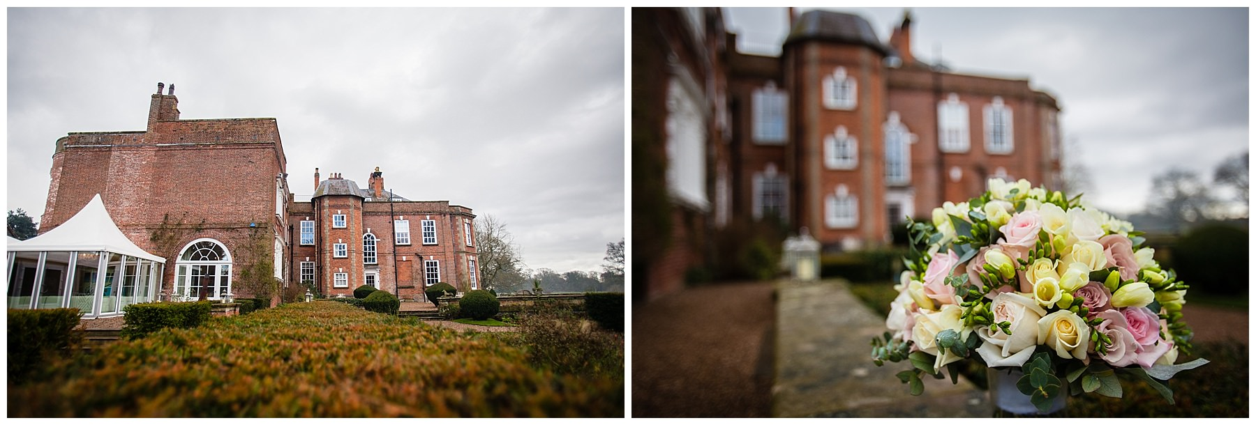 Views of Iscoyd Park from the gardens looking back at the hall - shropshire wedding photographer
