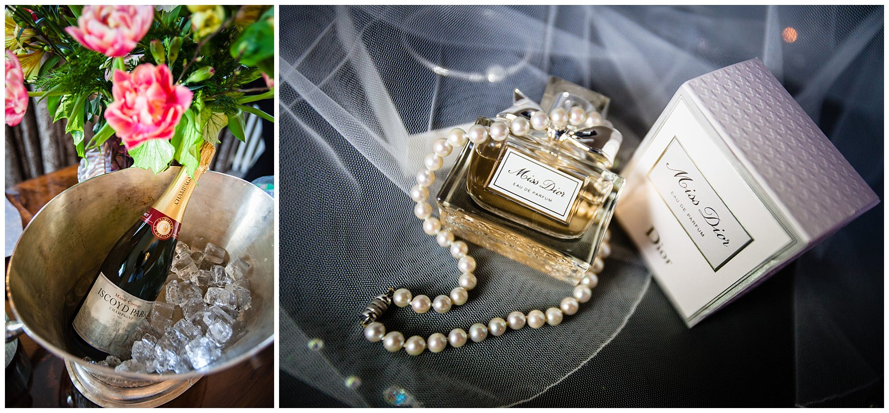 Iscoyd Park's own champagne in ice bucket and brides necklace, veil and dior perfume