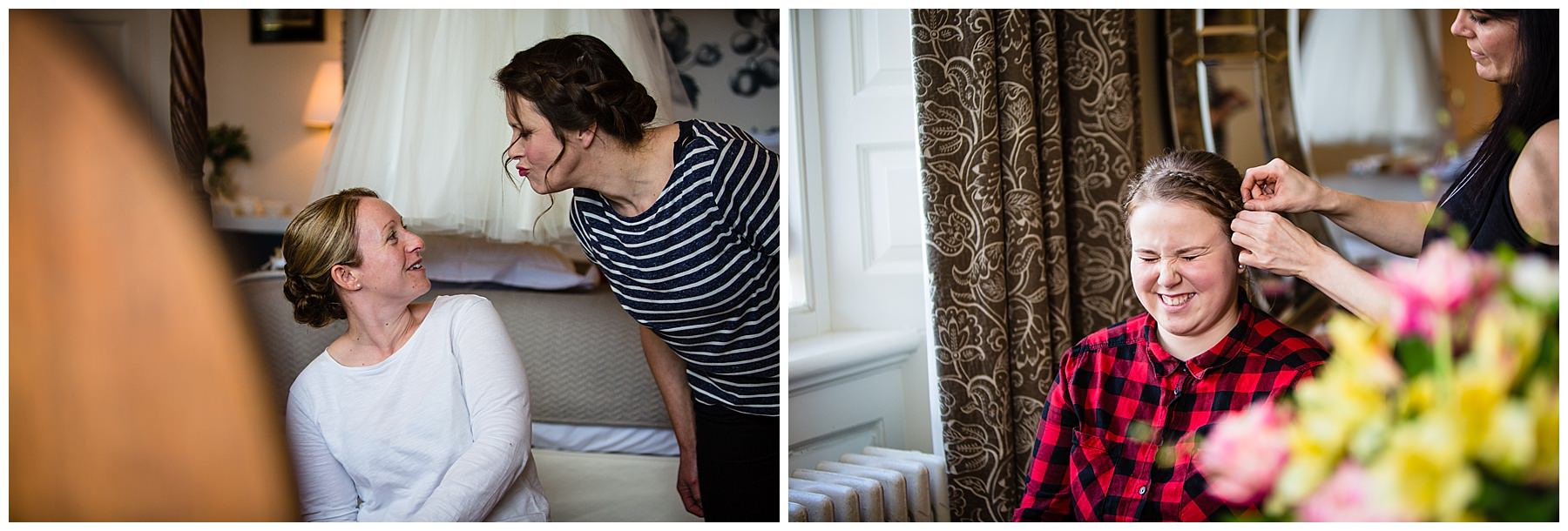 bridemaid going to playfully kiss the bride and another bridesmaid giggling while having hair adjusted - wedding photographer shropshire