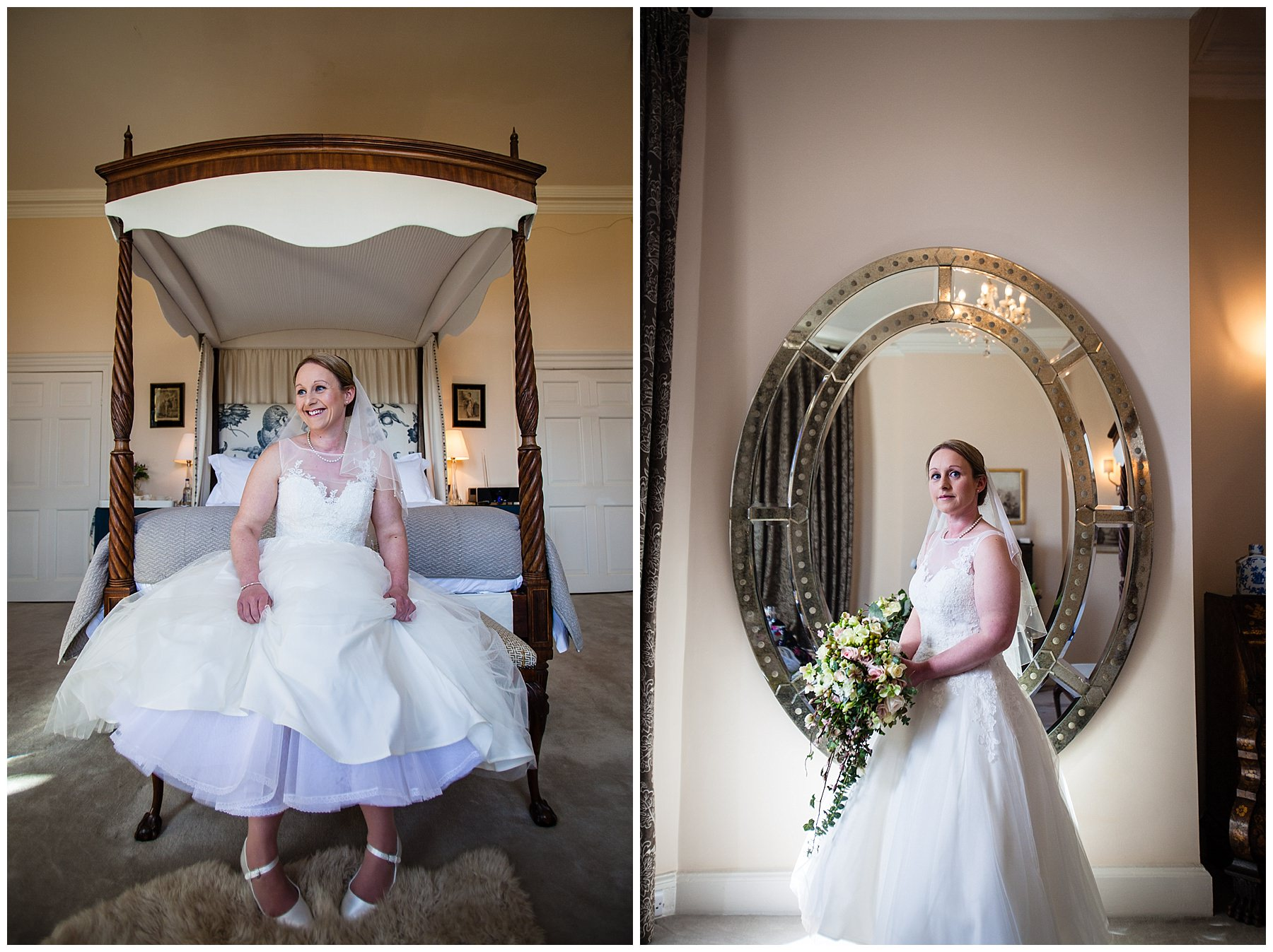 very excited bride sat on the end of the bed in the bridal suit and also infront of the mirror at iscoyd park wedding - shropshire phpotographer