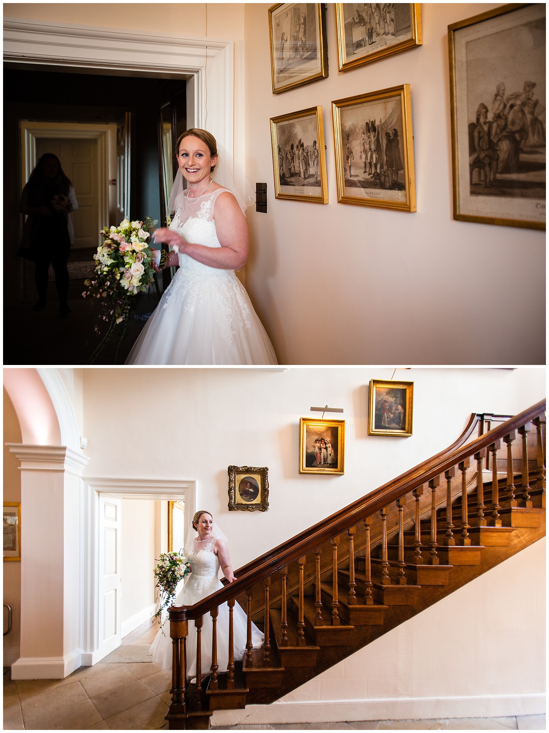 excited bride leaving the bridal suite and make her way down the iscoyd stairs to the ceremony