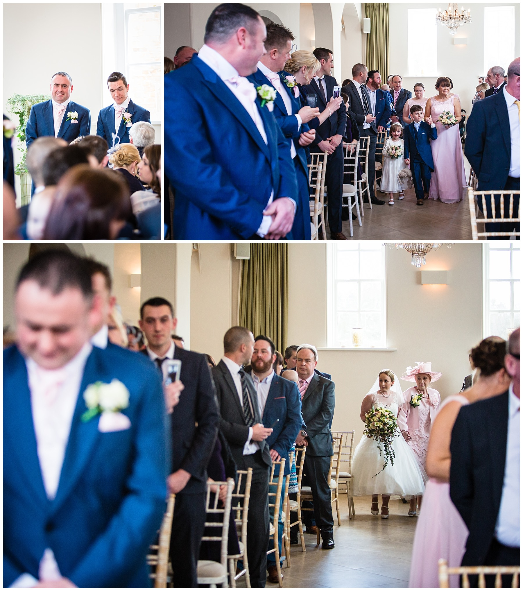 excited groom when awaiting the arrival of the bride and groom and the bridal party walking down the aisle at iscoyd park