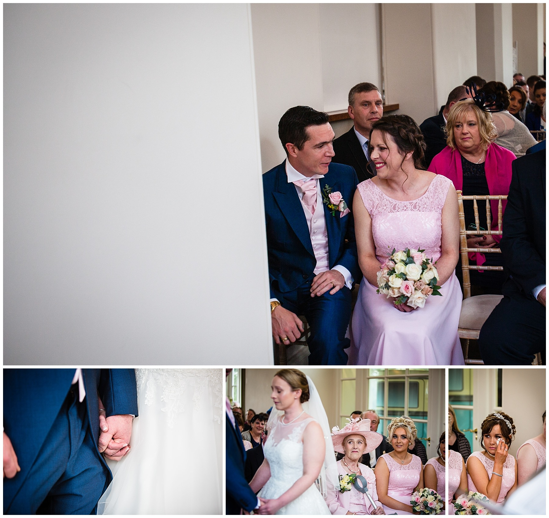 bridemaid smiling at the best man, bride and groom holding hands and an emotional sister wiping away tears at iscoyd park wedding