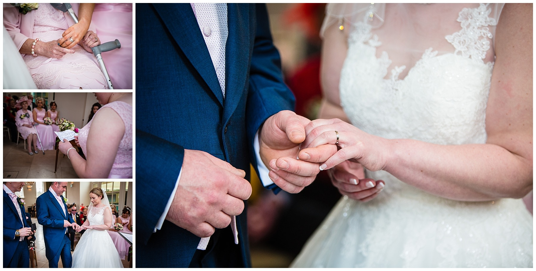 exchange of rings, close up shot of rings and bridesmaid reading out a beautifully written poem