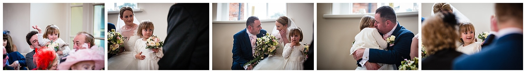 various candid photos of the bride and groom with the flowergirl - having cuddless with the groom