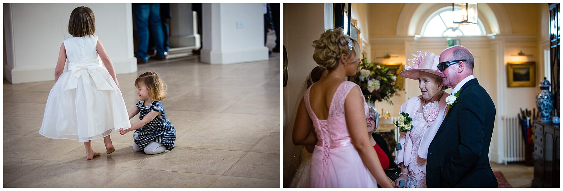 little girl adjusting flower girls dress and mother of the bride giggling with guests at iscoyd park wedding