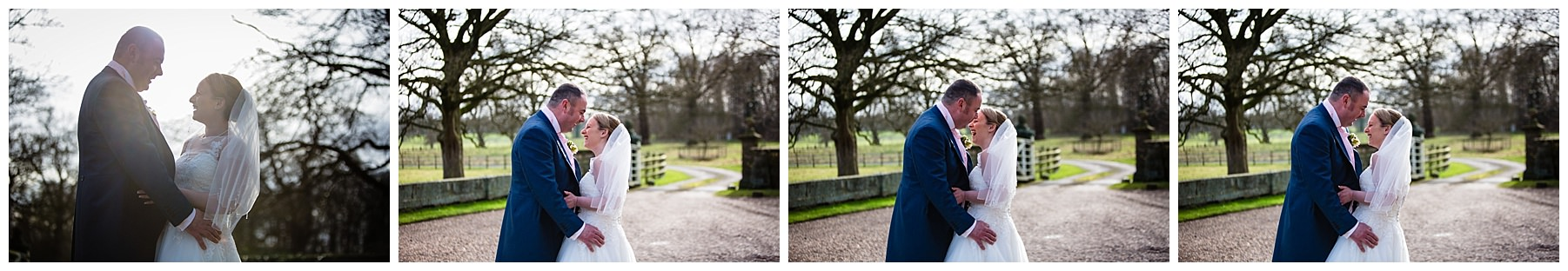 candid photos of the bride and groom giggling at iscoyd park wedding in natural warm sunlight - shropshire photographer