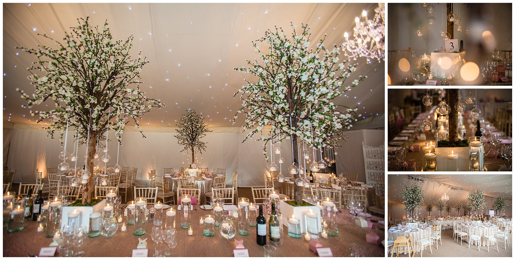 detail shots in the marquee for winter wedding - designed by red floral - iscoyd park