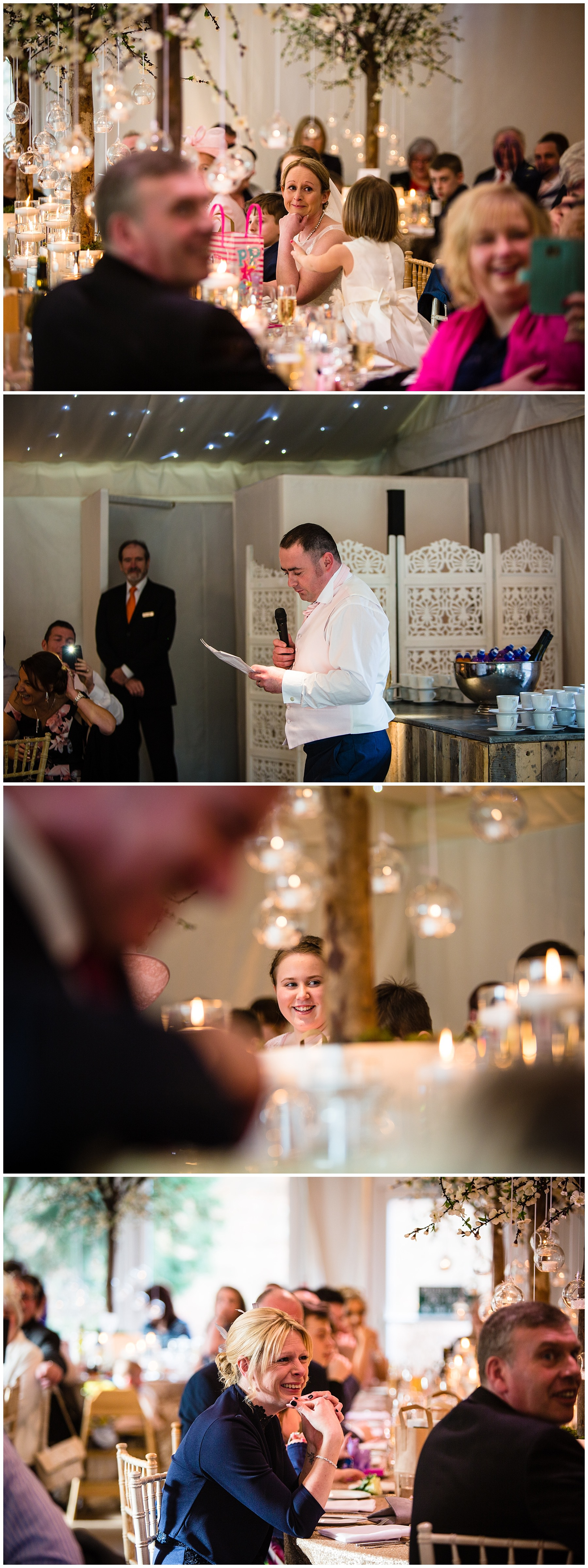 emotional bride as the groom does his speech at iscoyd park wedding - and guests laughing at his speech
