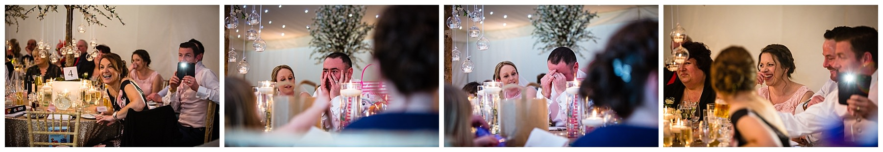 embarrassed groom reactions to the best man speech while guests laugh too iscoyd park wedding