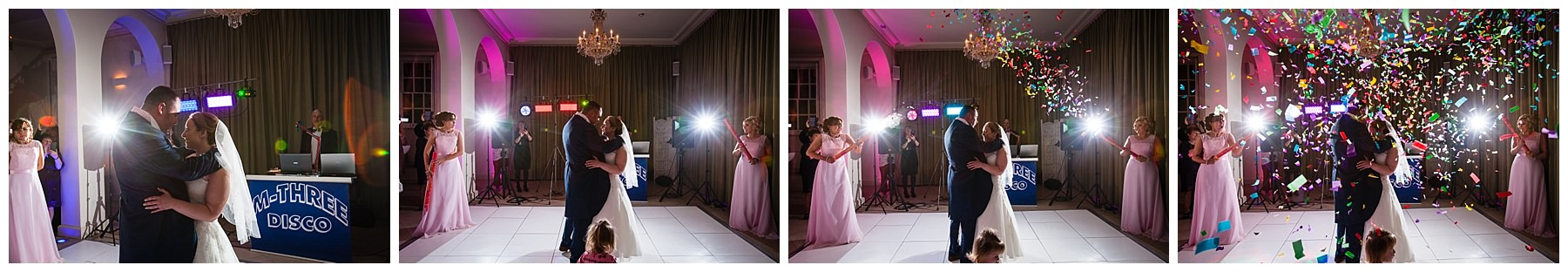 sequence of photos as bridesmaids release the confetti canons during the first dance at iscoyd park wedding