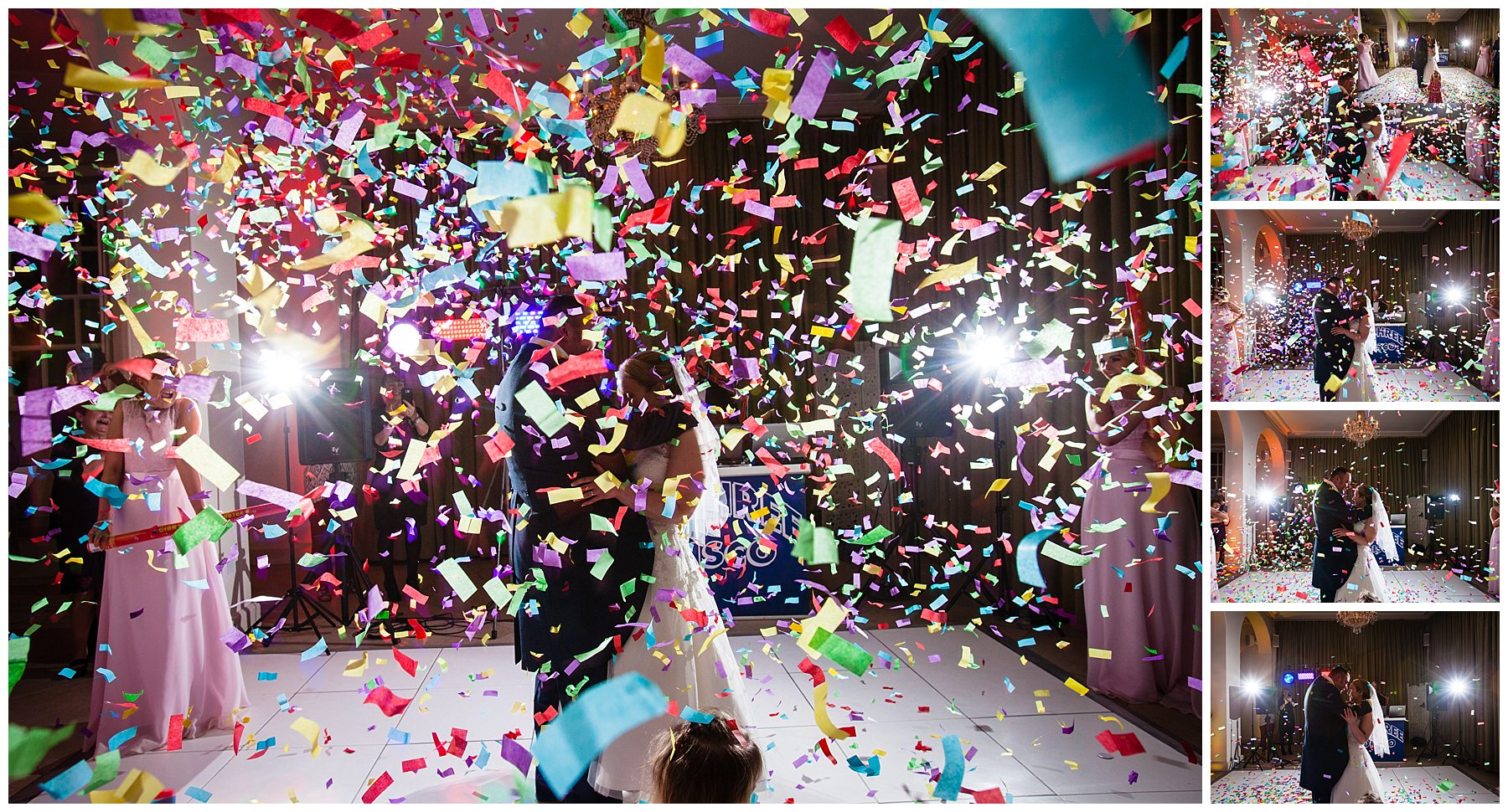 flurry off confetti decending during first dance at shropshire wedding at iscoyd park