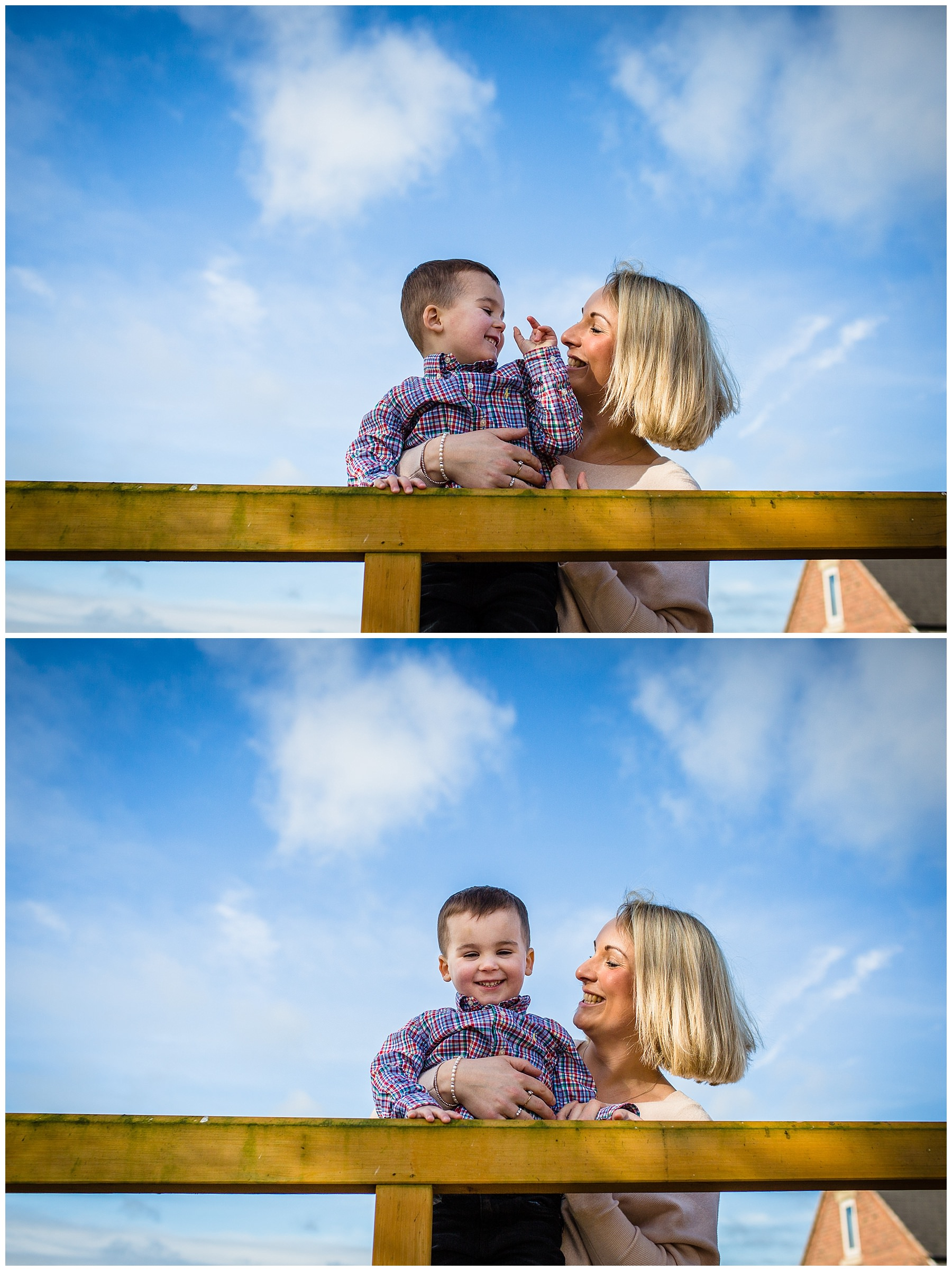mother and son of three looking at one another in blue sky interacting with one another - charlotte giddings photography