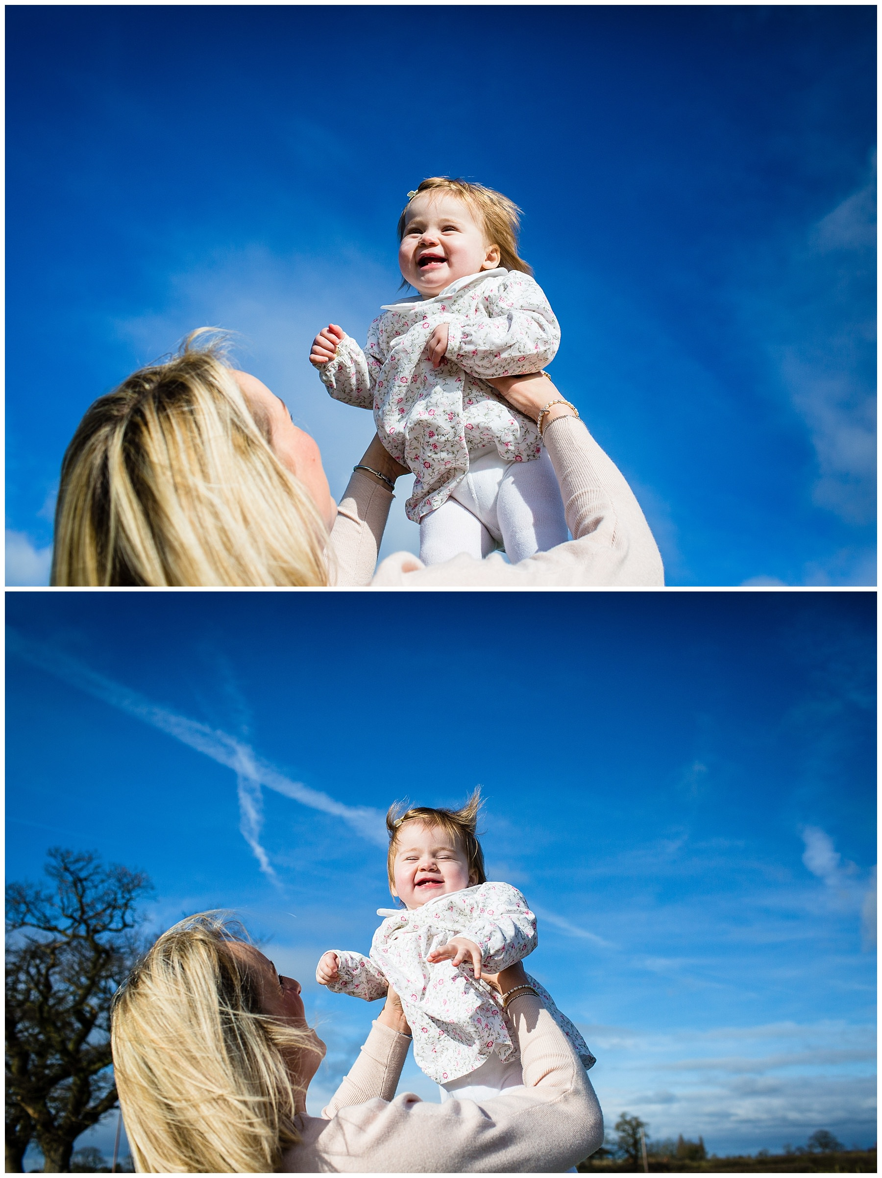 mum throwing daughter in the air and catching her with crazy hair - charlotte giddings photography