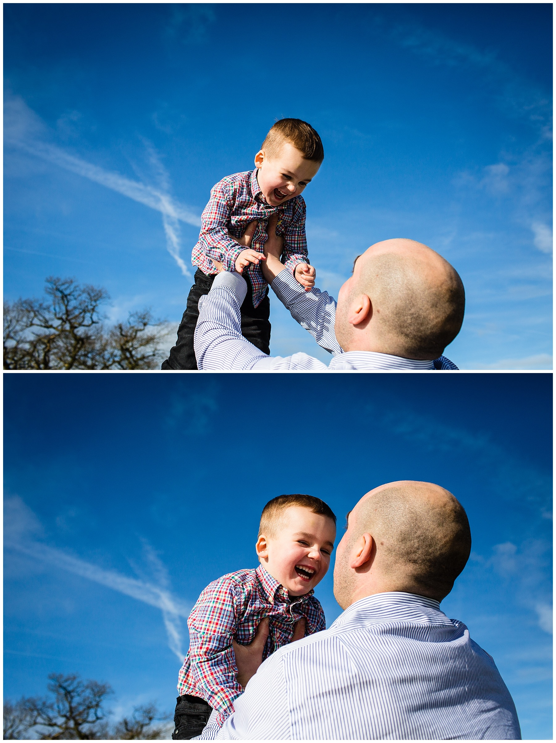 dad throwing a very excited little boy in the air with brilliant blue sky in the background - cheshire portrait photographer