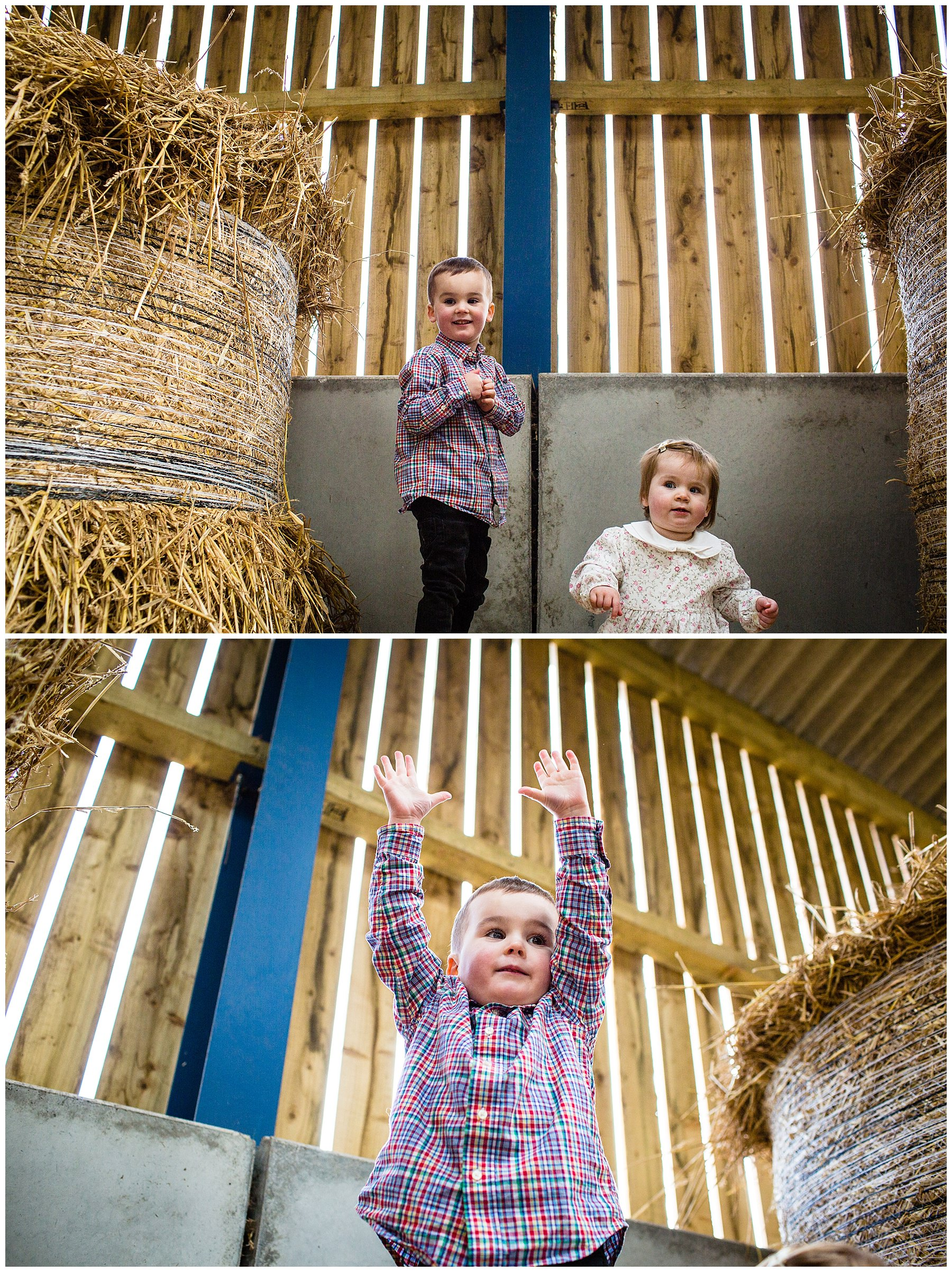 little boy and baby girl playing in the hay bales on family farm - charlotte giddings photography