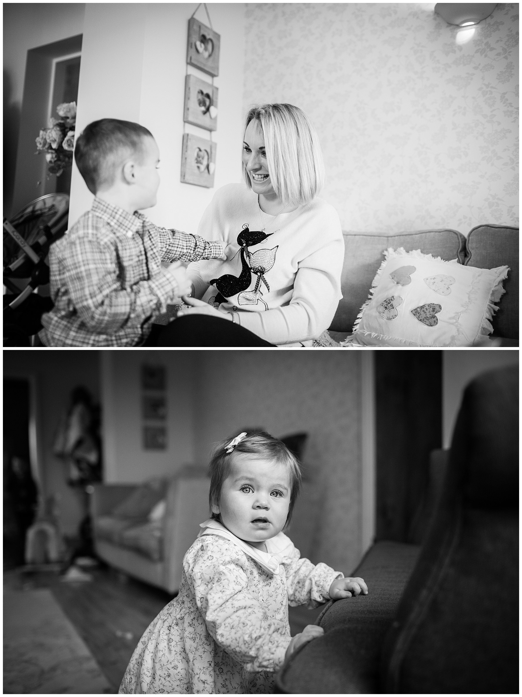 mum and boy ticking each other and daughter holding herself up against the sofa, black and white, shropshire photographer