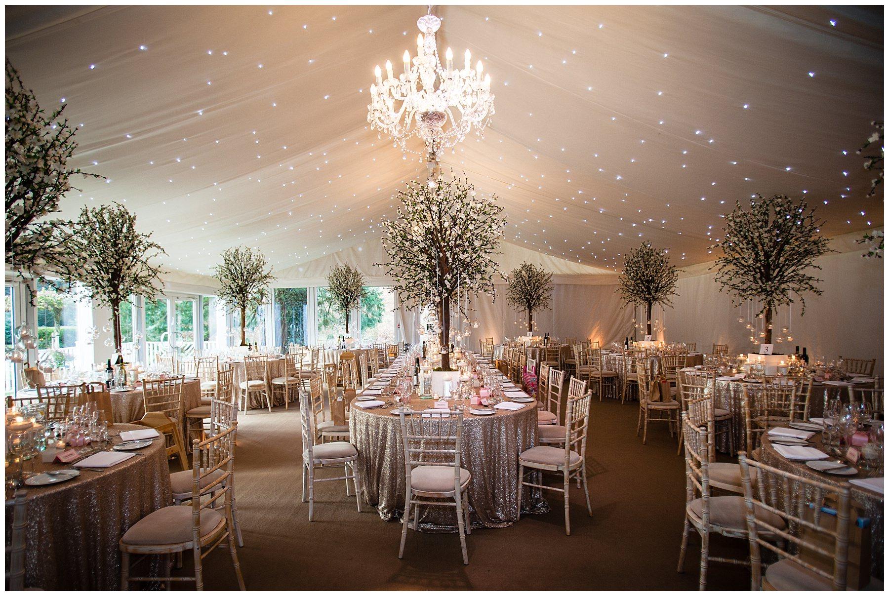 Iscoyd Park Wedding Marquee set up for Winter Wedding Breakfast